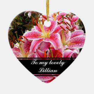 """Stargazer"" Lilies Ceramic Heart Decoration"