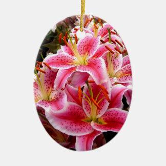 """""""Stargazer"""" Lilies Ceramic Oval Decoration"""