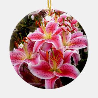 """""""Stargazer"""" Lilies Round Ceramic Decoration"""