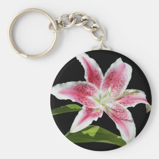 Stargazer Lily Basic Round Button Key Ring
