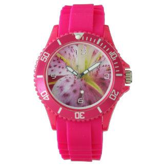 Stargazer Lily Bright Magenta Floral Watch