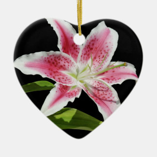 Stargazer Lily Double-Sided Heart Ceramic Christmas Ornament