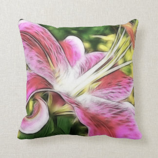 Stargazer Lily Floral Throw Pillow