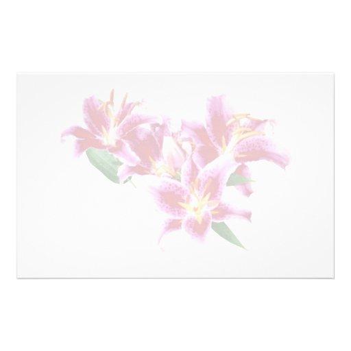 Stargazer Lily Heart Stationery Design