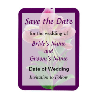 Stargazer Lily Looking Down Wedding Save the Date Rectangular Photo Magnet