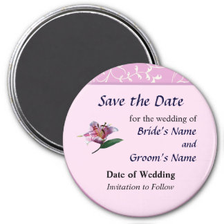 Stargazer Lily Profile Save the Date 7.5 Cm Round Magnet