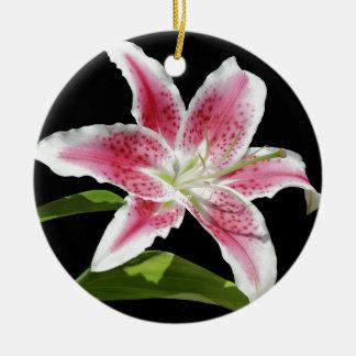 Stargazer Lily Round Ceramic Decoration