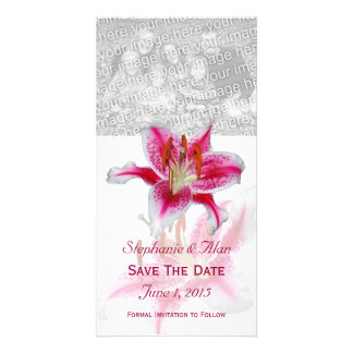 Stargazer Lily Save The Date PhotoCards Photo Greeting Card
