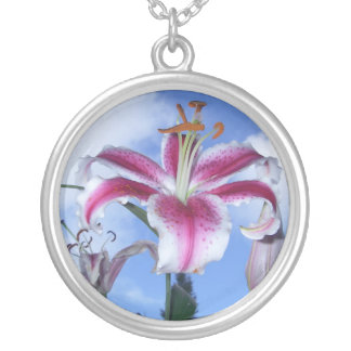 Stargazer Lily Silver Plated Necklace