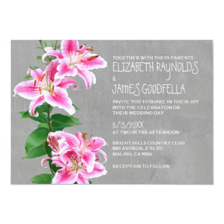 Stargazer Lily Wedding Invitations