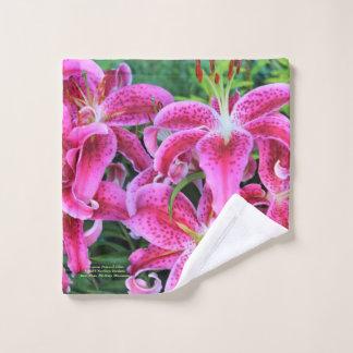 Stargazer Oriental Lilies, full flowers Wash Cloth
