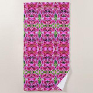 Stargazer Oriental Lilies, geometric Beach Towel