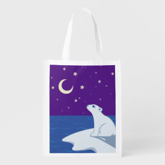 Stargazing Polar Bear Cub Art Reusable Grocery Bag