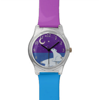 Stargazing Polar Bear Cub Art Watches