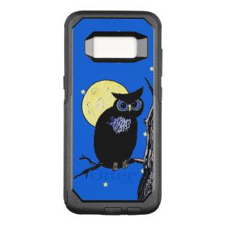 Staring Black Owl Blue Eyes in Tree Moon Stars OtterBox Commuter Samsung Galaxy S8 Case