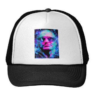 staring coloured head. trucker hat