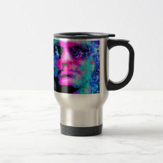 staring coloured head. coffee mug
