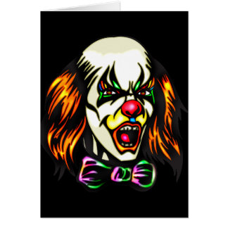 Staring Evil Clown Stationery Note Card