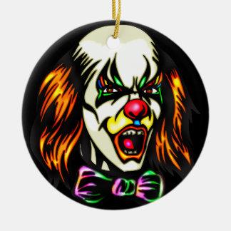 Staring Evil Clown Round Ceramic Decoration