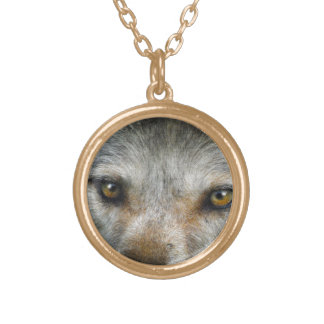Staring Grey Wolf Eyes Wildlife Art Gold Plated Necklace