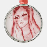 Starlight Mary - Red Christmas Ornament