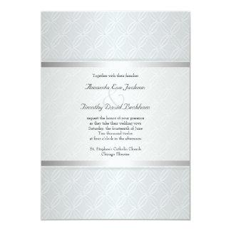 Starlight Silver Flare Monogrammed Elegant Wedding Card