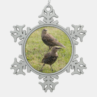 Starlings Snowflake Pewter Christmas Ornament