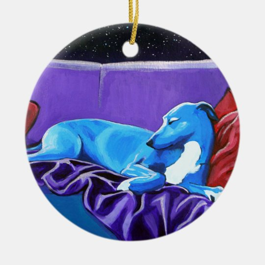 'Starlit lurcher' Christmas Ornament