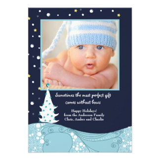 Starlit Night Holiday Photo Card Custom Invite