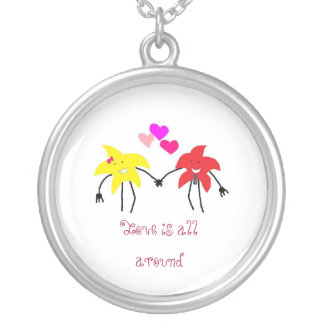 Starmaninlove, Love is all around Round Pendant Necklace