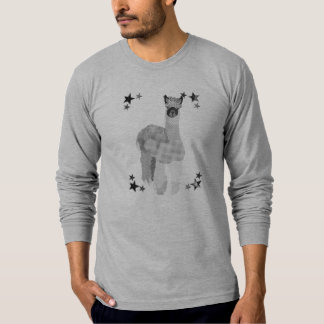 Starring Alpaca Art Black & White  T-shirt