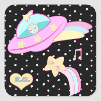 Starry Alien Space Ship Square Sticker