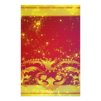 Starry Art Deco Red Yellow Stationery Design