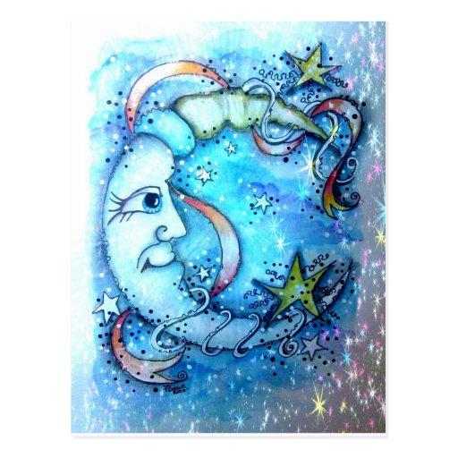 Starry Blue Moon Postcard