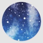 Starry Blue Night Sky Round Sticker