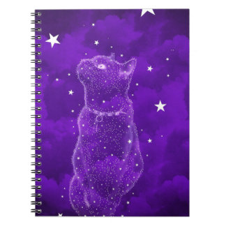 Starry Cat Notebook, Purple Notebook