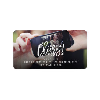 Starry Cheers Brush New Year Photo Address Labels