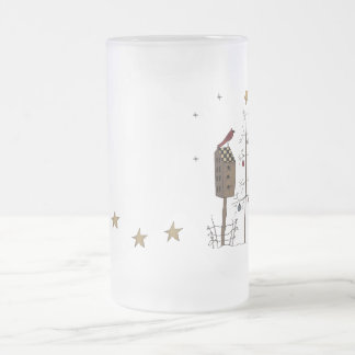 Starry Christmas Frosted Glass Mug
