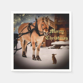 Starry Christmas night at the farm with horse Disposable Serviettes