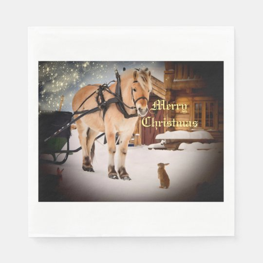 Starry Christmas night at the farm with horse Paper Napkin