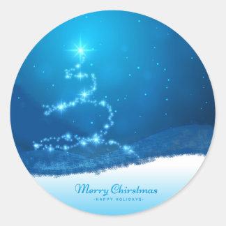 Starry Christmas Tree Classic Round Sticker