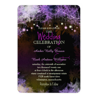 Starry Evening Forest Purple Wedding Invitation