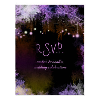 Starry Evening Forest Purple Wedding RSVP Postcard