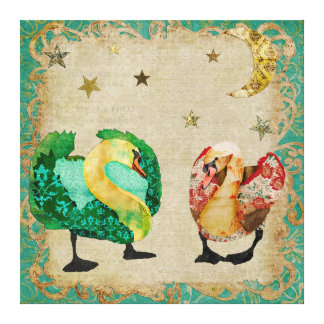 Starry Eyed Swans Canvas Stretched Canvas Prints