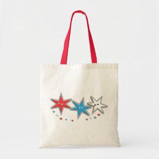 Starry Looks - A Patriotic Trio Budget Tote Bag