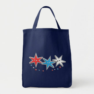 Starry Looks - A Patriotic Trio Grocery Tote Bag