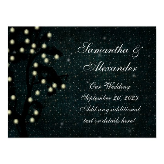 Starry Midnight Lights String Lantern Wedding Poster
