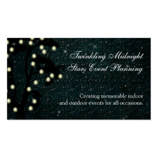 Starry Midnight String of Lights Event Planning Business Card Template