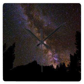 Starry Milky way, California Square Wall Clock