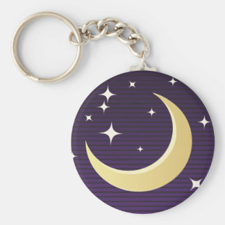 Starry Moon Basic Round Button Key Ring